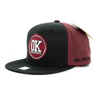 SM062 Oaklahoma Snapback Cap (Black & Burgundy)