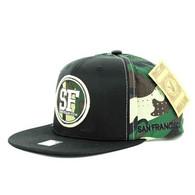SM062 San Francisco Snapback Cap (Black & Military Camo)