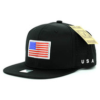 SM062 USA Flag Snapback Cap (Solid Black)