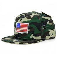 SM062 USA Flag Snapback Cap (Solid Military Camo)