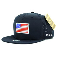 SM062 USA Flag Snapback Cap (Solid Navy)