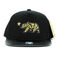 SM763 Cali Bear Snapback Cap Hat (Black & Black)