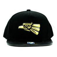 SM763 Hecho En Mexico Snapback Cap Hat (Black & Black)