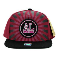 SM932 Alabama Snapback Cap (Burgundy & Black)