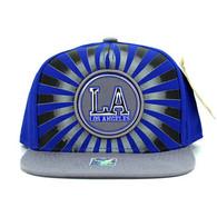 SM932 Los Angeles Snapback Cap (Royal & Grey)