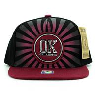 SM932 Oklahoma Snapback Cap (Black & Burgundy)