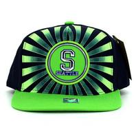 SM932 Seattle Snapback Cap (Navy & Lime)