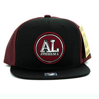 SM062 Alabama Snapback Cap (Black & Burgundy)