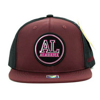 SM062 Alabama Snapback Cap (Burgundy & Black)