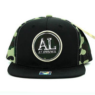 SM062 Alabama Snapback Cap (Black & Military Camo)