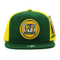 SM062 Green Bay Snapback Cap (Dark Green & Gold)
