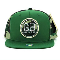 SM062 Green Bay Snapback Cap (Dark Green & Military Camo)