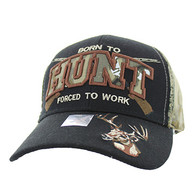 VM181 Born to Hunt Forced to Work Velcro Cap (Black & Hunting Camo)