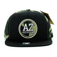 SM062 Arizona Snapback Cap (Black & Military Camo)