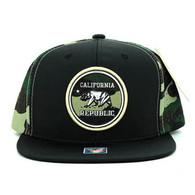 SM062 Cali Bear Snapback Cap (Black & Military Camo)