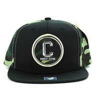 SM062 Chicago Snapback Cap (Black & Military Camo)