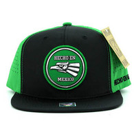 SM062 Hecho En Mexico Snapback Cap (Black & Kelly Green)