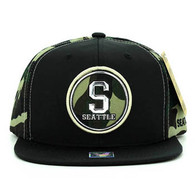 SM062 Seattle Snapback Cap (Black & Military Camo)