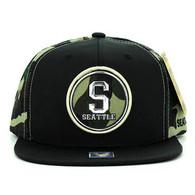 SM062 Seattle Snapback Cap (Black & Military Camo)