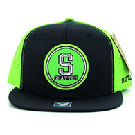 SM062 Seattle Snapback Cap (Navy & Lime)