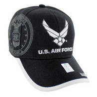 VM030 Military License Air Force #2 Baseball Velcro Cap (Solid Black)