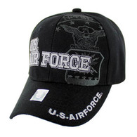 VM030 Military License Air Force #4 Baseball Velcro Cap (Solid Black)
