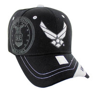 VM030 Military License Air Force #6 Baseball Velcro Cap (Solid Black)