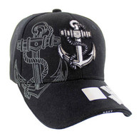 VM020 Military License Navy #5 Baseball Velcro Cap (Solid Black)