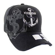 VM020 Military License Navy #5 Baseball Velcro Cap (Solid Black)