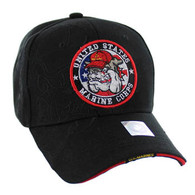 VM050 Military License Marine #1 Baseball Velcro Cap (Solid Black)