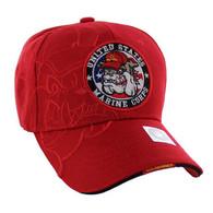 VM050 Military License Marine #2 Baseball Velcro Cap (Solid Red)