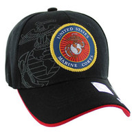 VM050 Military License Marine #5 Baseball Velcro Cap (Solid Black)