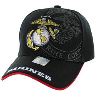 VM050 Military License Marine #7 Baseball Velcro Cap (Solid Black)