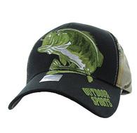 VM207 Big Bass Outdoor Sports  Velcro Cap (Black & Hunting Camo)