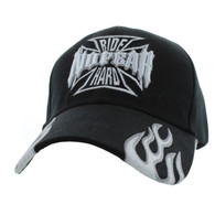 VM013 No Fear Ride Hard Velcro Cap (Solid Black)