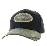 VM815 New York Cotton Baseball Cap Hat  (Black & Hunting Camo)