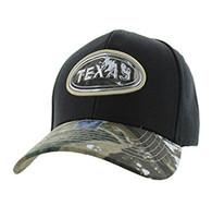 VM815 Texas State Baseball Hat Cap (Black & Hunting Camo)