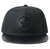 SM035 Star Snapback Cap Hat (Black & Black)