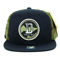 SM062 Dallas Snapback Trucker Mesh Cap (Navy & Military Camo)
