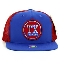 SM062 Texas Snapback Trucker Mesh Cap (Royal & Red)