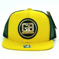 SM062 Green Bay Snapback Trucker Mesh Cap (Gold & Dark Green)