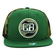 SM062 Green Bay Snapback Trucker Mesh Cap (Dark Green & Military Camo)