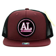 SM062 Alabama Snapback Trucker Mesh Cap (Burgundy & Black)
