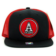 SM062 Atlanta Snapback Trucker Mesh Cap (Black & Red)