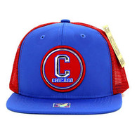 SM062 Chicago Snapback Trucker Mesh Cap (Royal & Red)