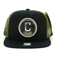 SM062 Chicago Snapback Trucker Mesh Cap (Black & Military Camo)