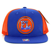 SM062 Florida Snapback Trucker Mesh Cap (Royal & Orange)