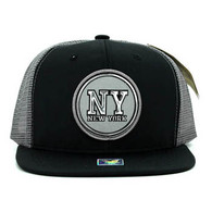 SM062 New York Snapback Trucker Mesh Cap (Black & Light Grey)