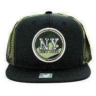 SM062 New York Snapback Trucker Mesh Cap (Black & Military Camo)