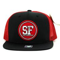 SM062 San Francisco Snapback Trucker Mesh Cap (Black & Red)
